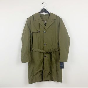 London Fog Olive Green Water Resistant Trench Coat